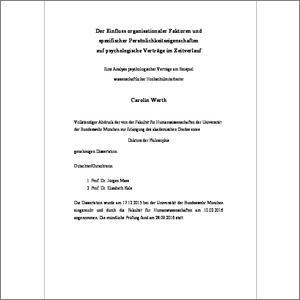Der Einfluss Organisationaler Faktoren Und Spezifischer